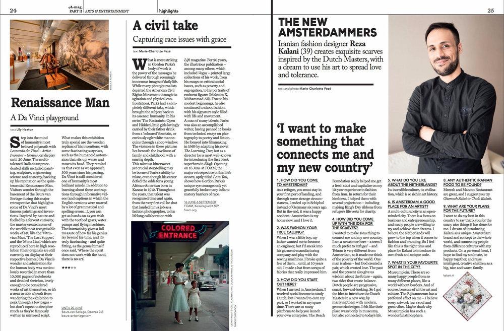 Writing   A-mag – Amsterdam Magazine: Vol 5, No. 3 May/June 2017 Arts & Entertainment   Page 24