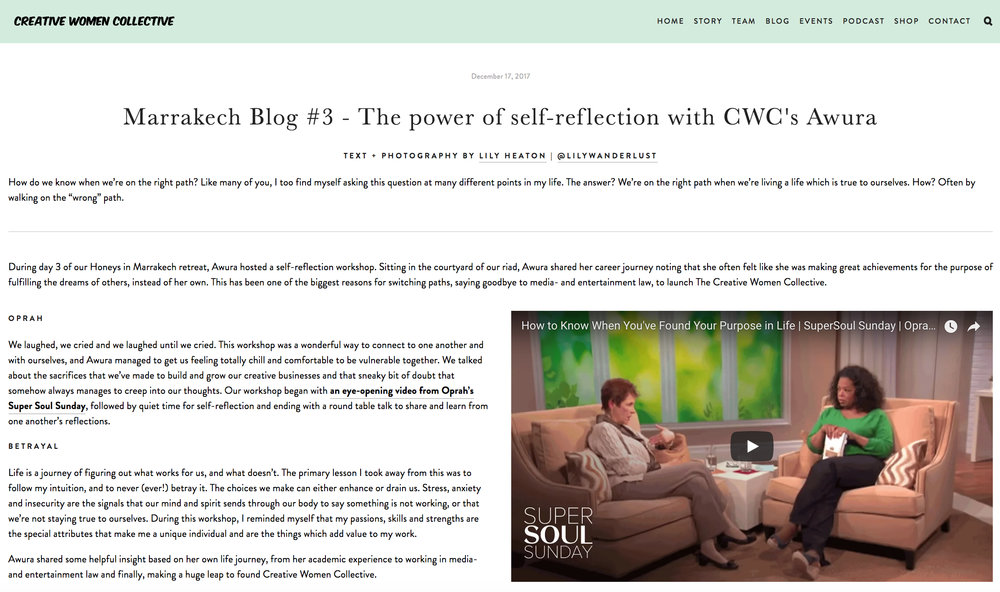 CWC Blog - Marrakech Self Reflection