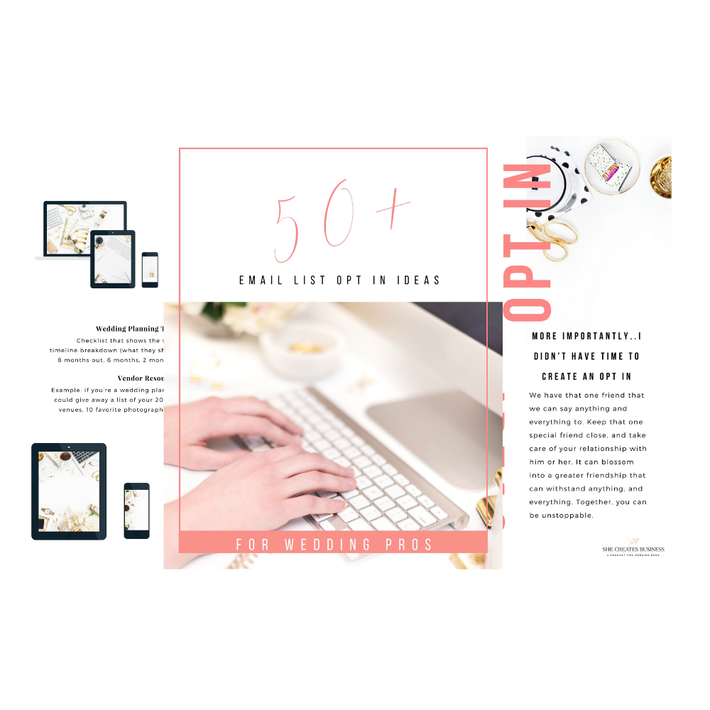 This ebook has 50+ email opt in and content upgrade ideas for wedding professionals to use on their websites. Email Opt-ins and content upgrades can help you build your email list as a wedding pro