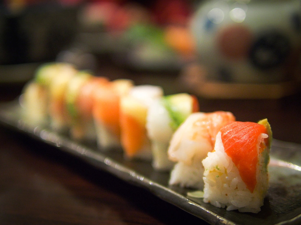 Sushi Rolls - cucumber, avocado, spinach, carrot, cream  cheese, or eggwith a choice of meat, ahi tuna, smoke salmon, or spicy crab