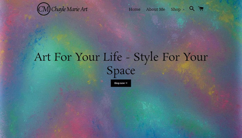Chayle Marie Art - My first Shopify project! This site's visual design may be simple, but a custom e-commerce setup means online orders are handled with this artist's unique on-demand printing and shipping in mind.