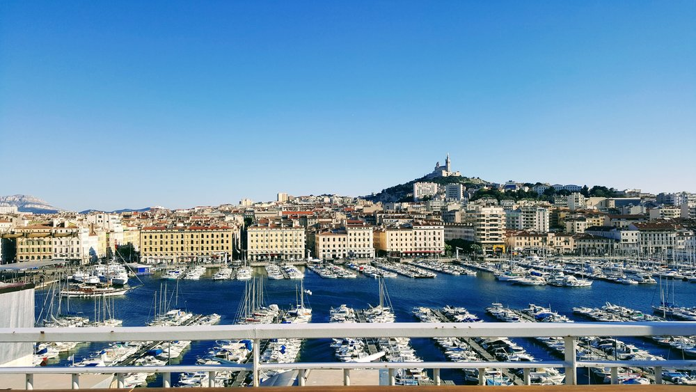 View from Hermes Hotel rooftop terrace in Marseille