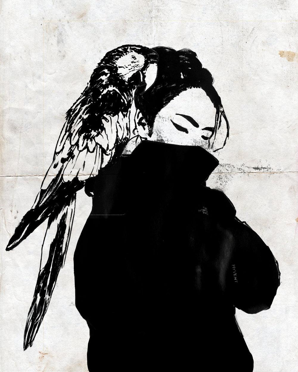 REDGIRLwithbird ink.jpg
