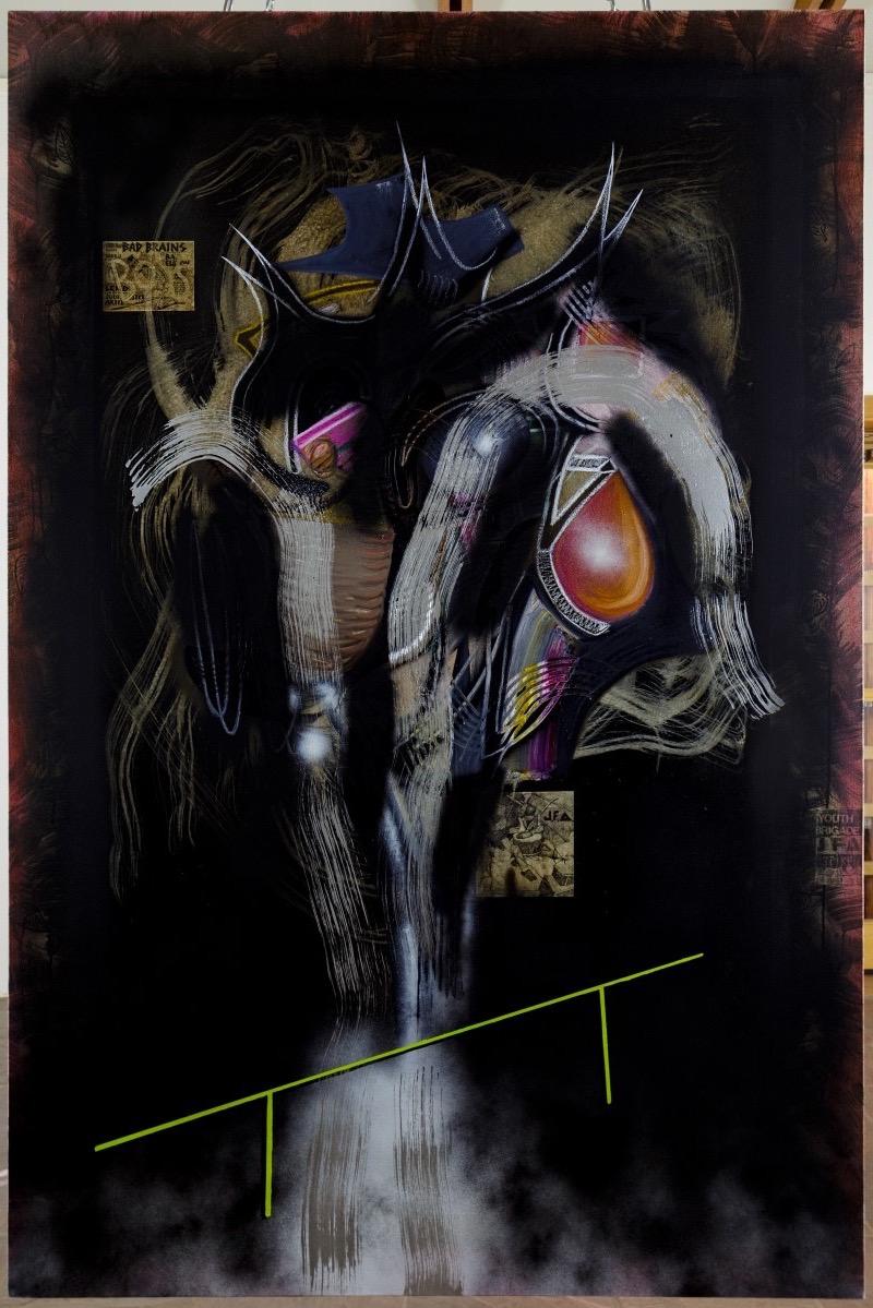 SpiritOfTheBadboy  oil, enamel, ink & collage on canvas  48 x 72  2016