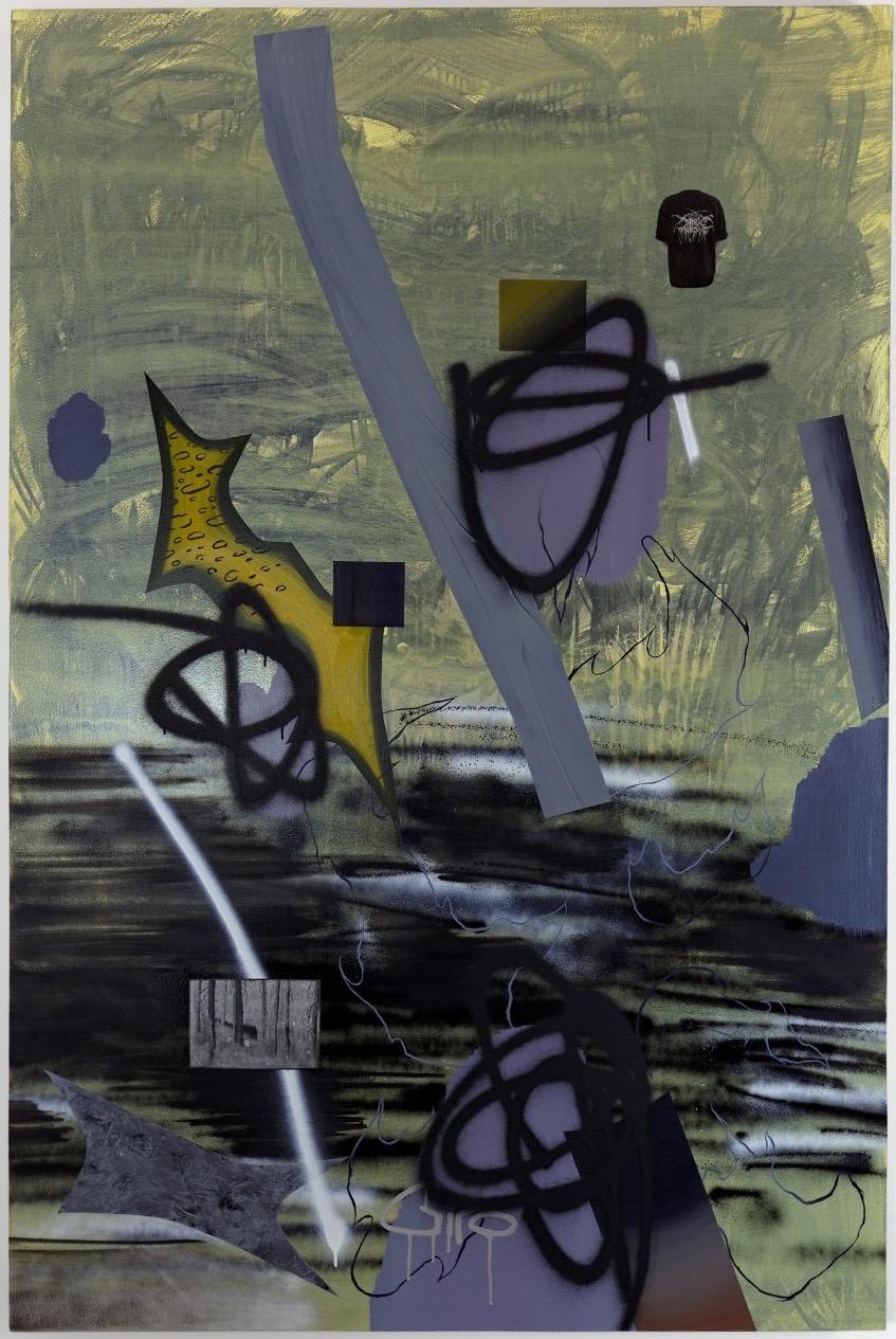 TreeOfLife- bones  oil, enamel, & collage on canvas  48 x 72  2015