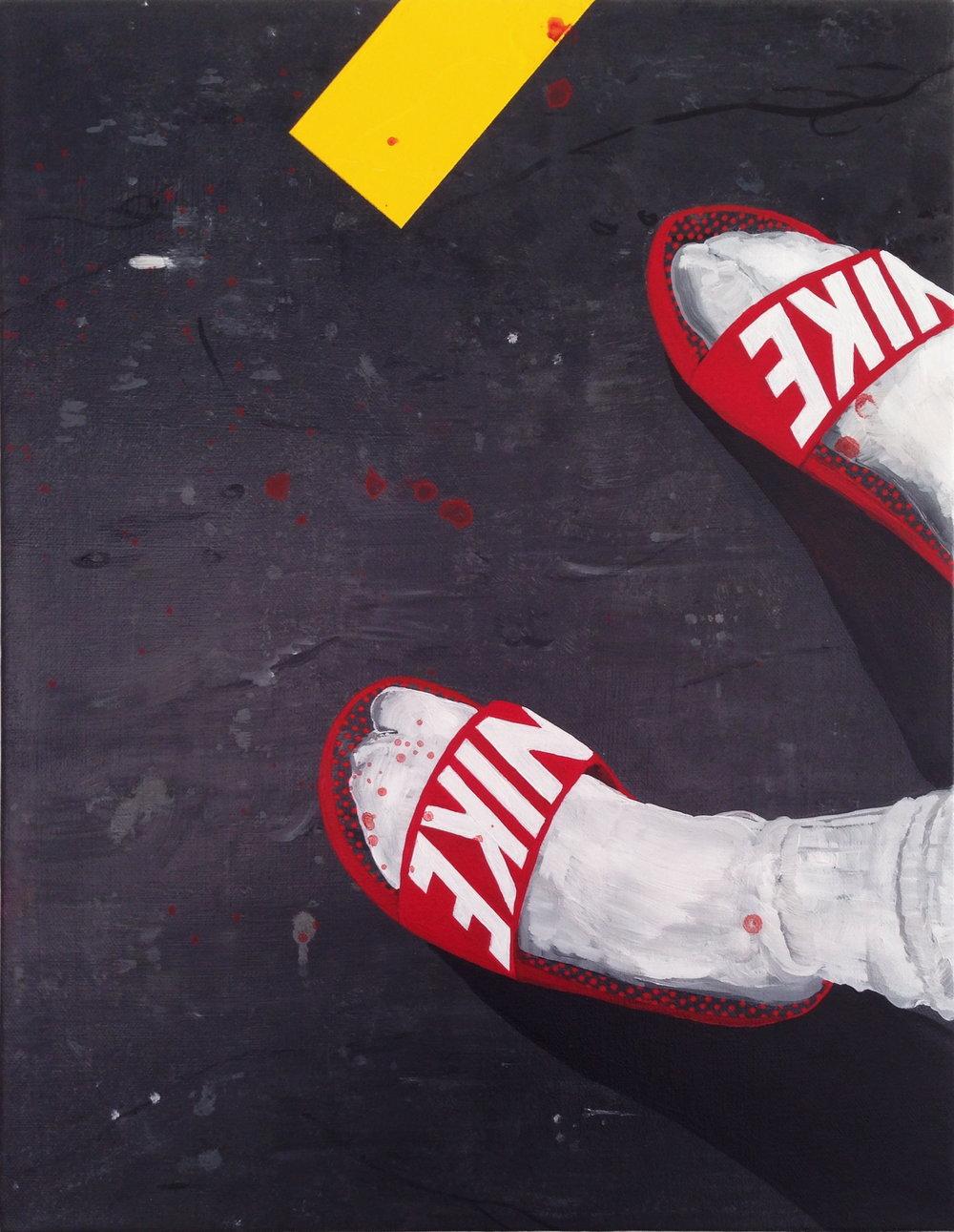 B positive, blood  acrylic on canvas  14 x 18  2015