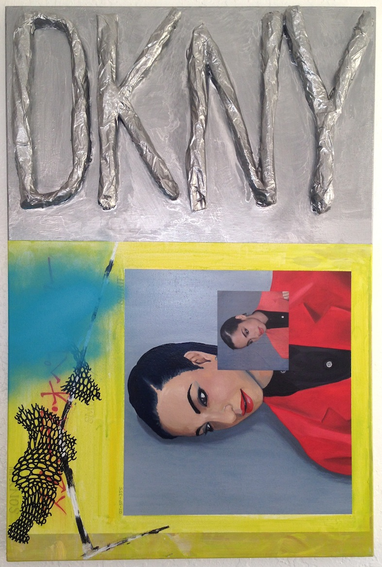 Sade/success  acrylic, oil, spray, & collage on canvas  22 x 28  2014