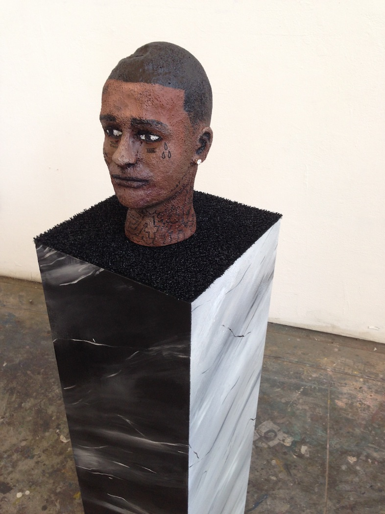 """""""i might be""""  acrylic, spray, enamel, jewelry, astroturf, wood, & styrofoam  12 x 12 x 53  2014"""