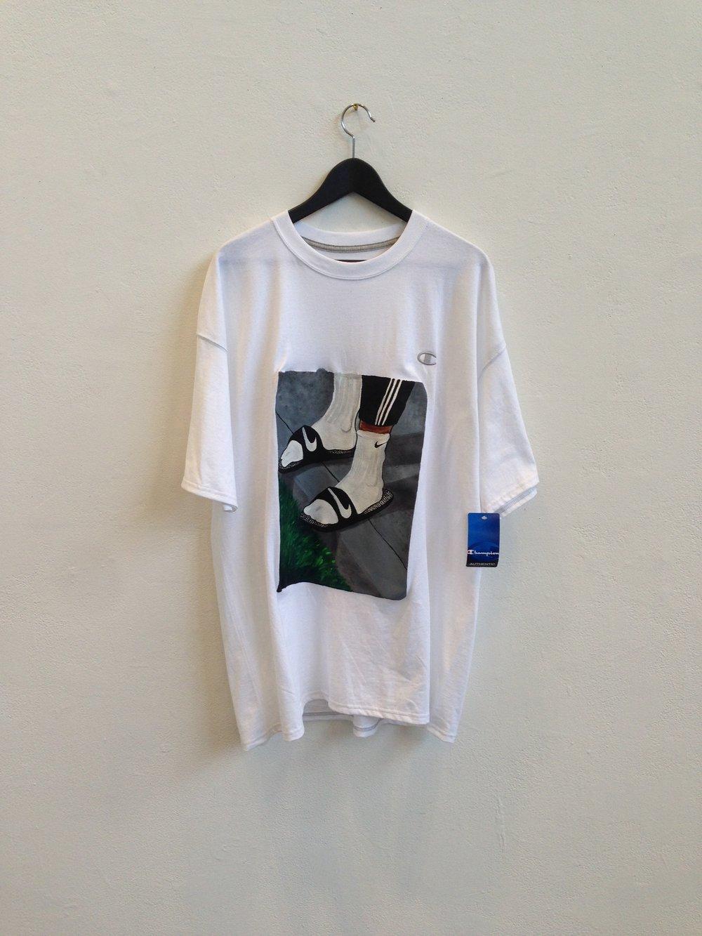 The Precipice T  acrylic on Champion t-shirt  size XL  2014