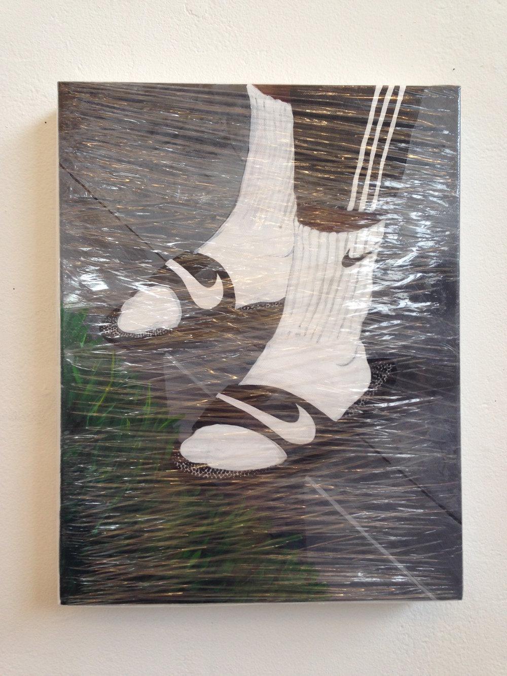 The Precipice  acrylic & plastic wrap on canvas  11 x 14  2014