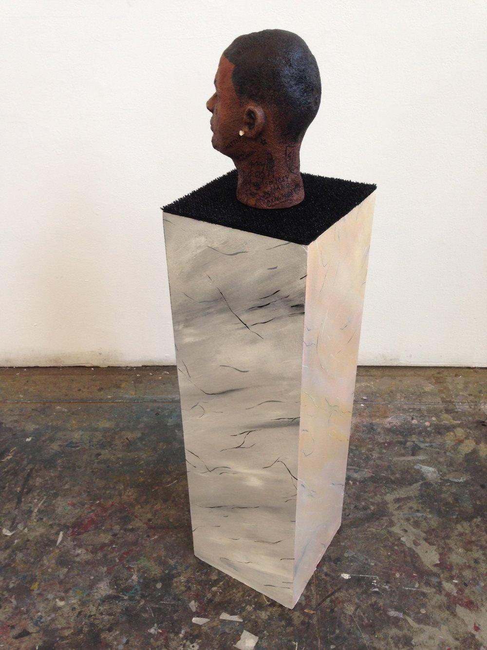 """""""i might be"""" (alternate view)  acrylic, spray, enamel, jewelry, astroturf, wood, & styrofoam  12 x 12 x 53  2014"""