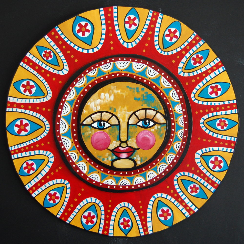 """El Sol""   Acrylic on Wood   Approx. 2' wide //   SOLD"