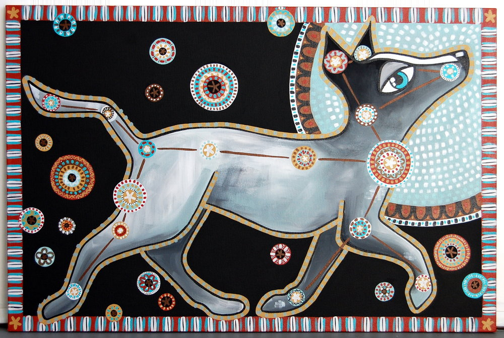 """Laika (Modern Day Canis Major)""   Acrylic on Canvas   24"" x 36"" // SOLD"