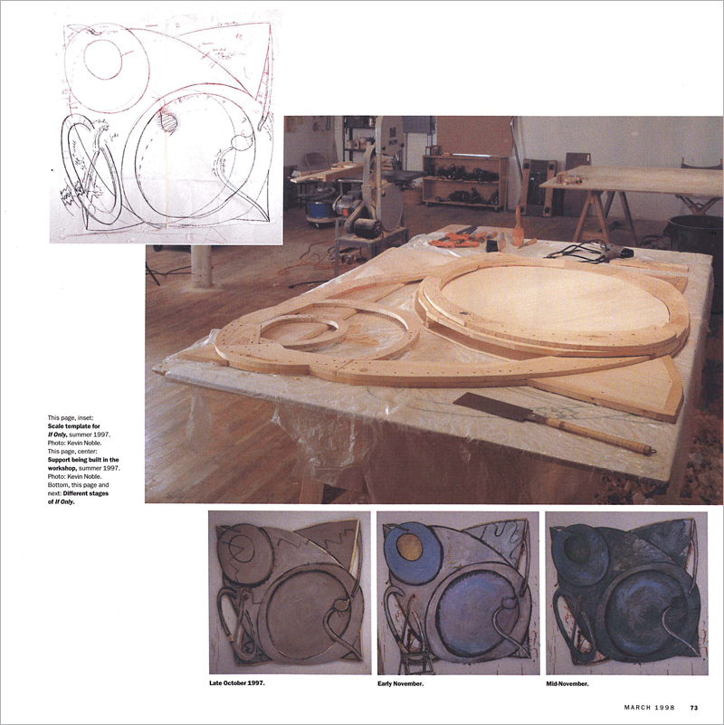 Support being built in the workshop, summer 1997. Bottom: Different stages of If Only. Photo: Kevin Noble for Artforum