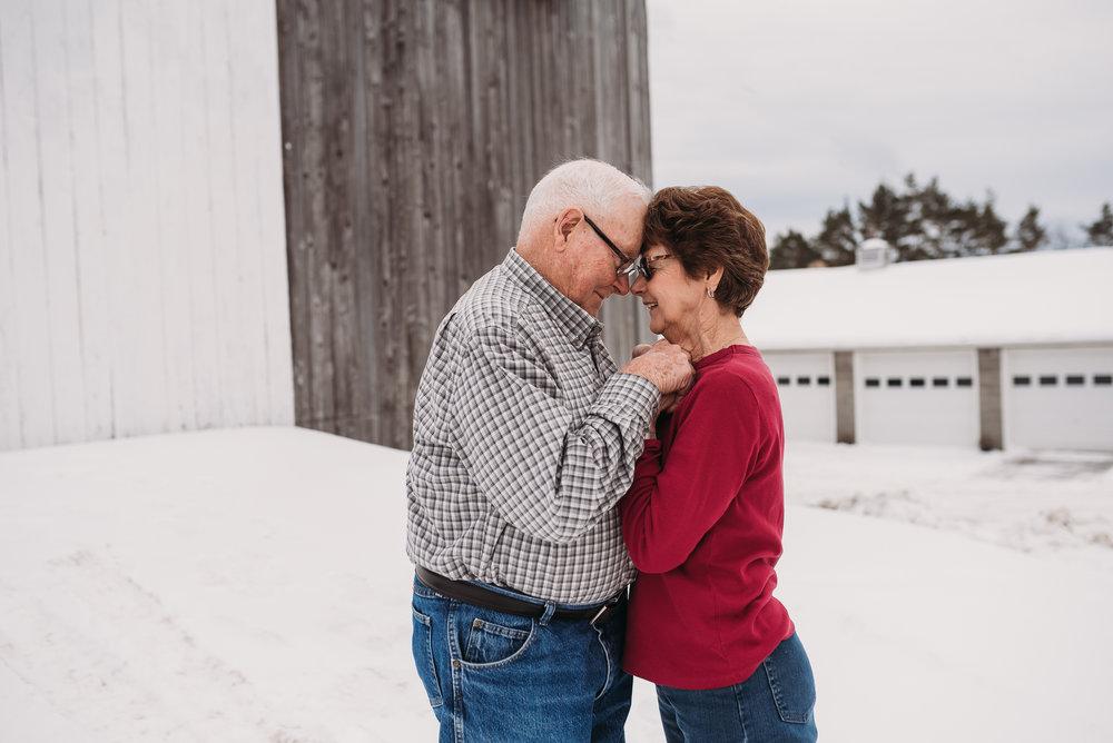 Older couple farm session