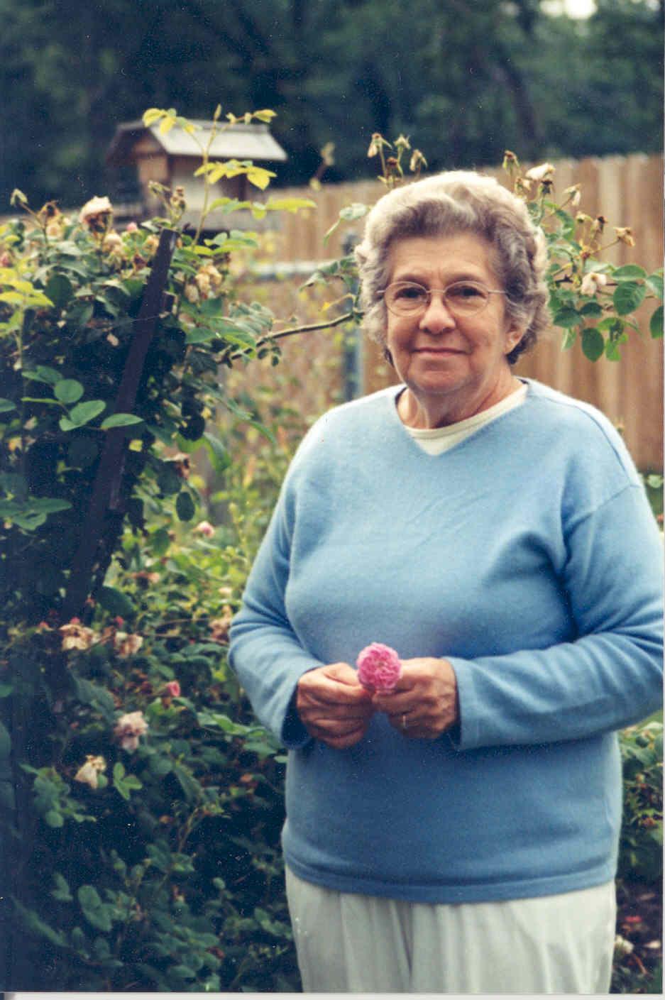 My grandma in the garden.