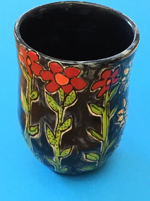 Item #7  Hand-thrown ceramic cup collaboratively made and glazed by NOVA teacher, Becky, and Fadi.
