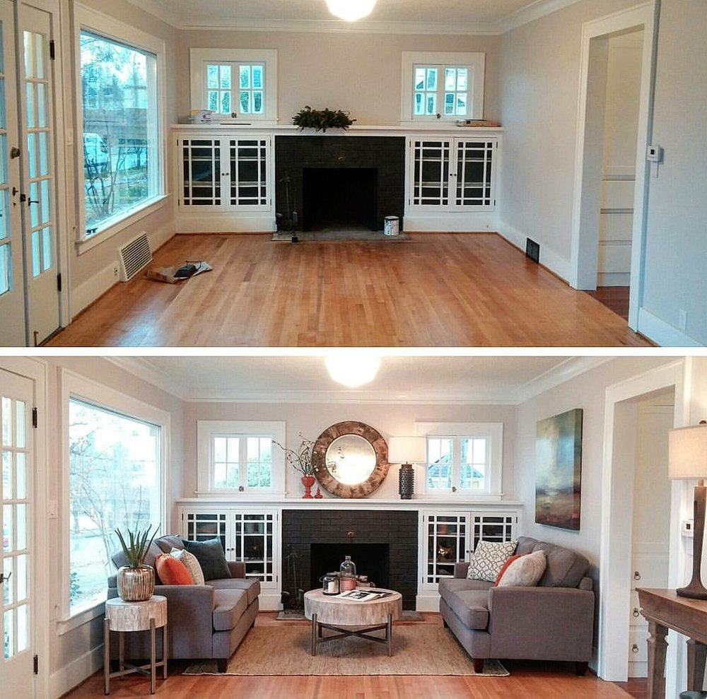 A before and after of a home I staged in Portland OR featured on the DIY channel show First Time Flippers