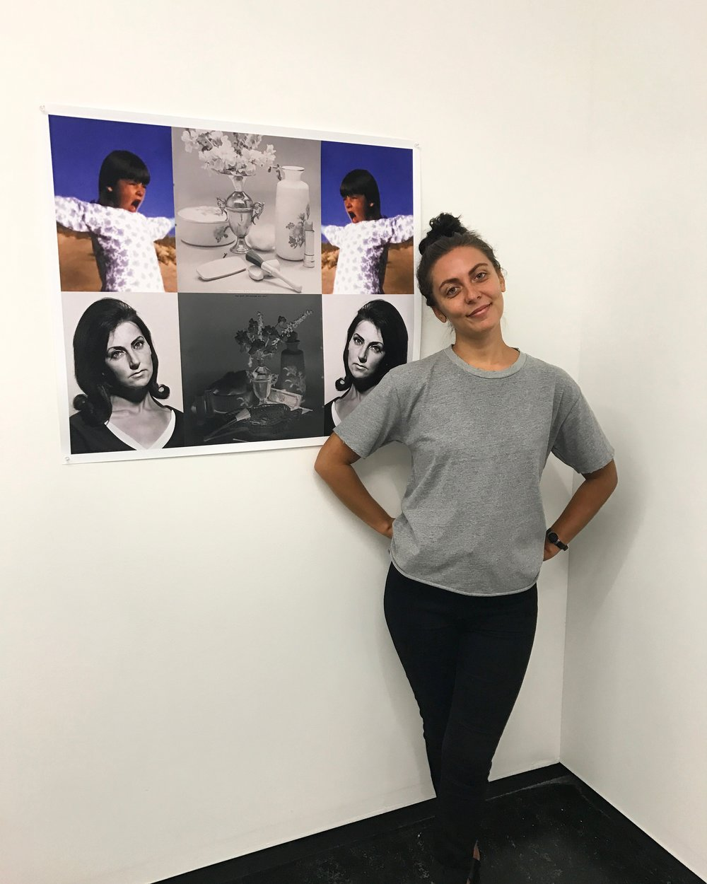 Hayley Milla-Baker with her work  Untitled (for an aboriginal)  from the  Dem Cheeky Bulls  2016-17 series.