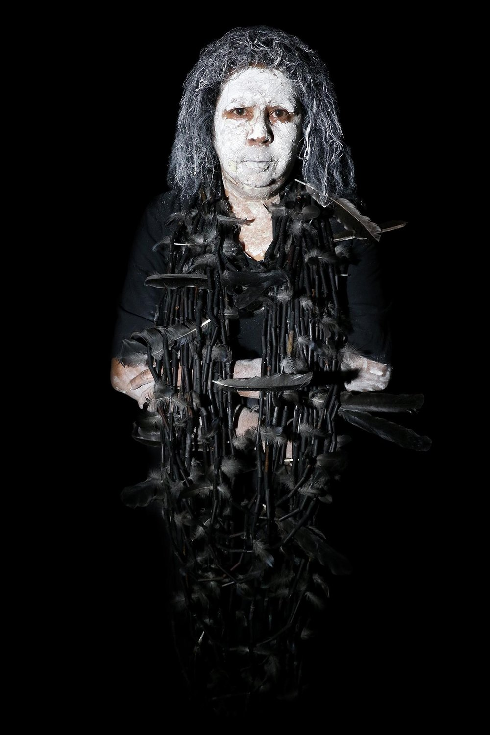 Maree Clarke, Self Portrait with Mourning Necklace,   2017, Digital image on dibond,Courtesy of the artist and Vivien Anderson Gallery, Melbourne.