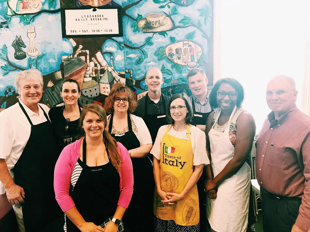 Great mix of members at the quarterly visit to Lynchburg Daily Bread to serve food to hungry in the City of Lynchburg. Club charter members serving alongside members less than 4 months old.