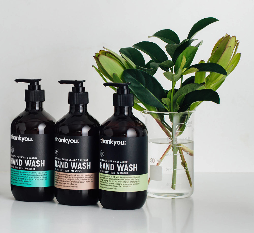 The Thankyou hand wash range. Source: Wesley Rodricks,  Thankyou  media kit