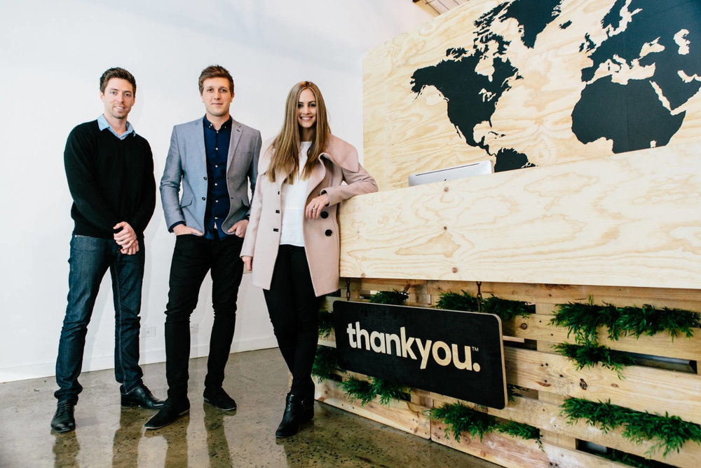 Thankyou's co-founders: Jarryd Burns, Daniel Flynn and Justine Flynn. Source: Wesley Rodricks,  Thankyou   media kit