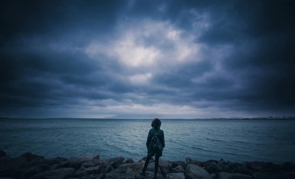 dark sky over ocean