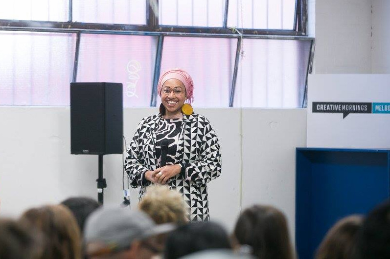 Yassmin Abdel-Magied speaking at Creative Mornings Melbourne on 25 August 2017. Photo by Mark Lobo Photography.