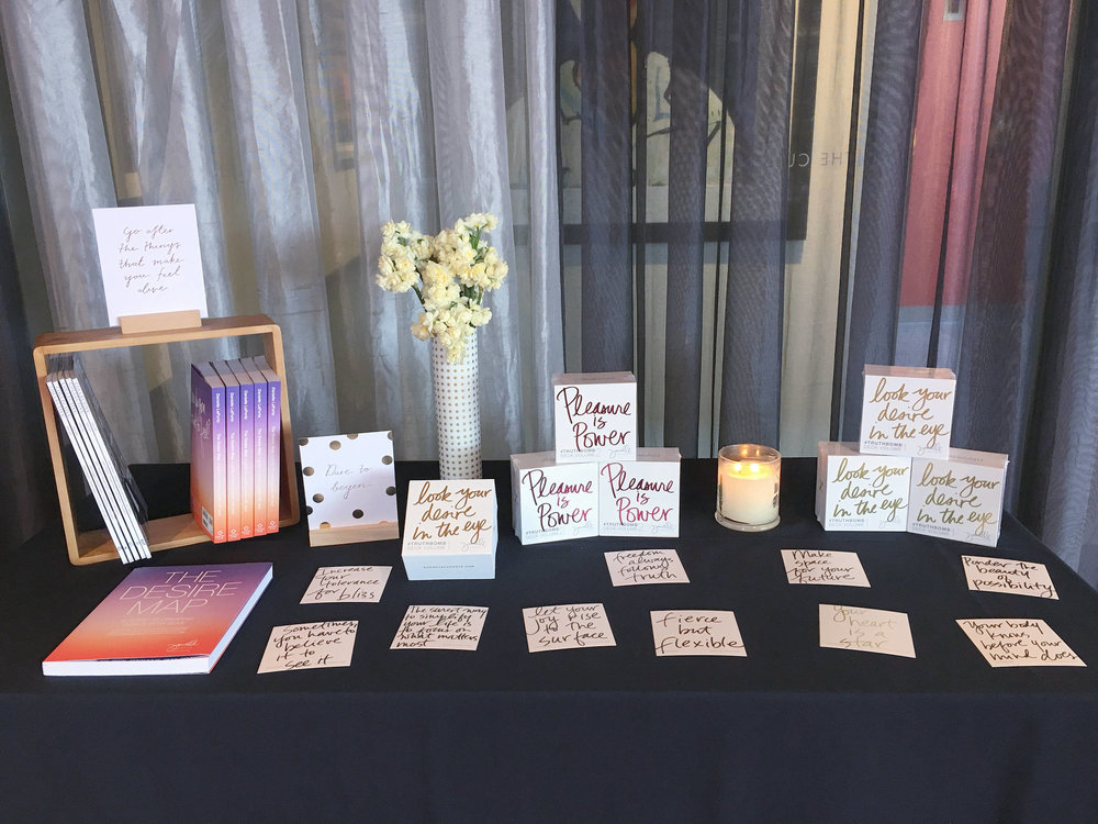 Surrounding ourselves with inspiration at the Inspired and Intentional urban retreat: books and Truthbomb cards by Danielle LaPorte, recent issues of the Collective Hub magazine and encouragement from Kikki.K quote cards. Photo by Jade Tjia, 19 August 2017.