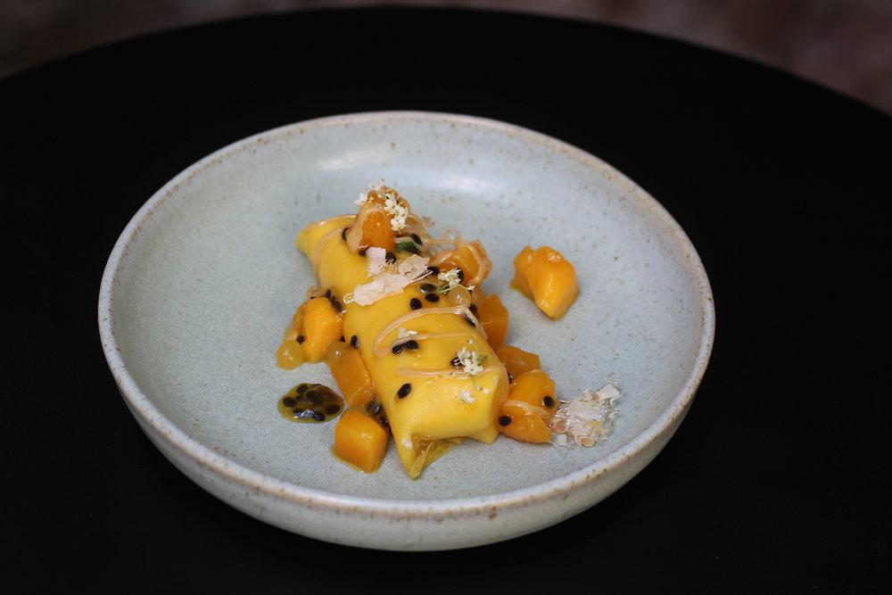 mango pancake dessert allegra dining
