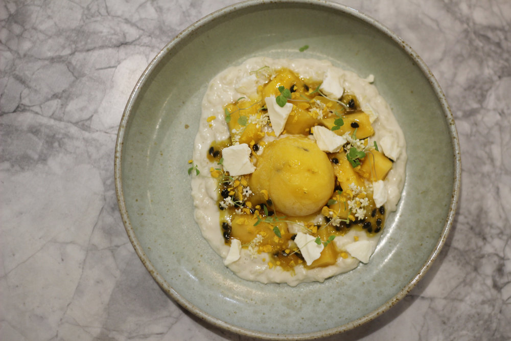 rice pudding with mango sorbet, mango and passionfruit