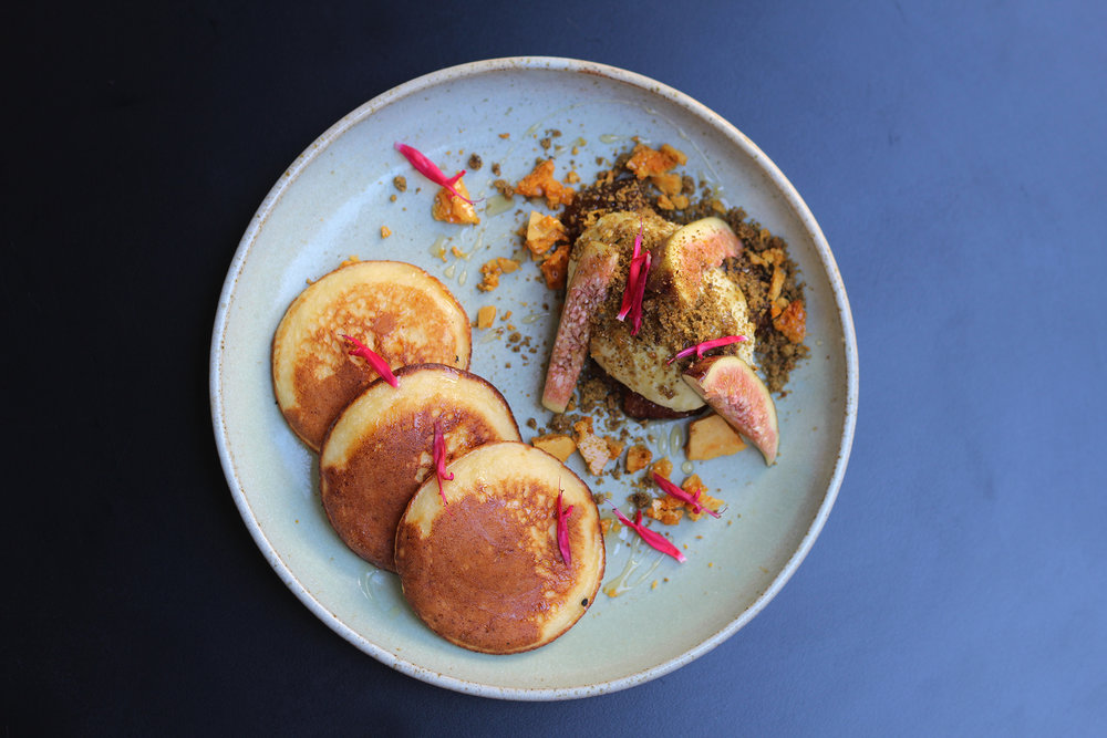 ricotta hotcakes, figs, honeycomb, honey, pistachio mascarpone