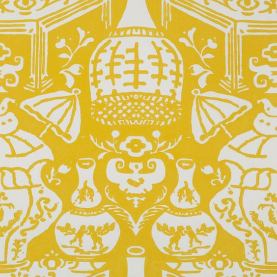 Clarence House The Vase Yellow Chinoiserie Wallpaper Wallcovering