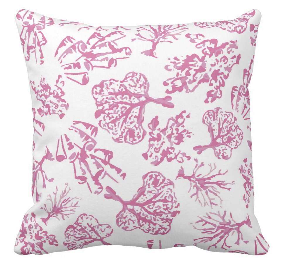 pink and white coral patterned throw pillow
