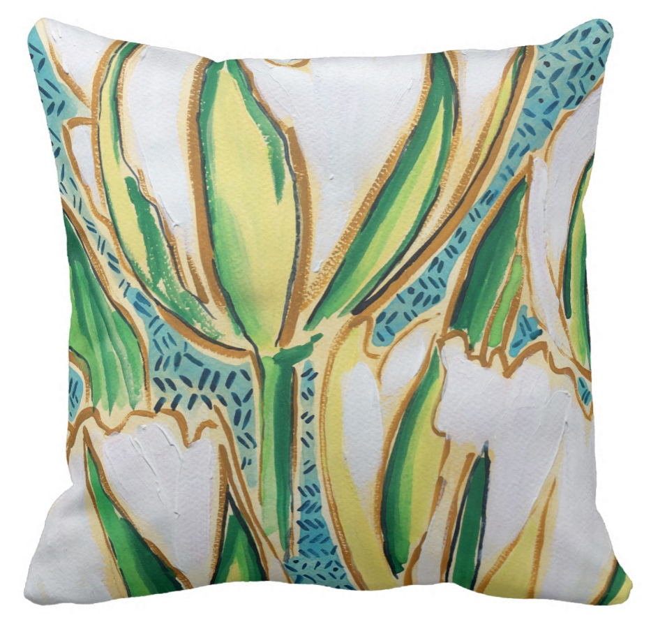 Bold floral green blue and white patterned throw pillow