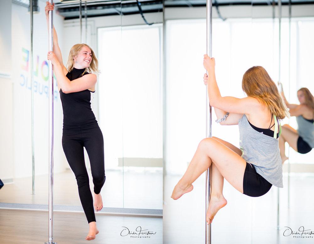 Nina og Maibrit pole dance