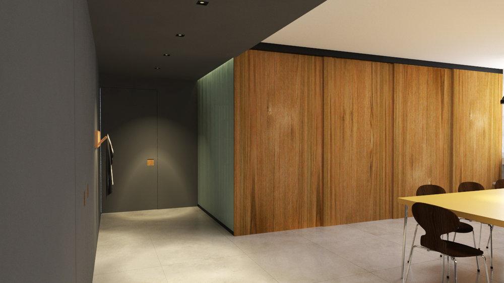 macroarq_arquitetura_interiores_projeto_apartamento_sao_paulo_jardins_cozinha_porta_madeira_correr_trilho_iluminação_cglass_concreto