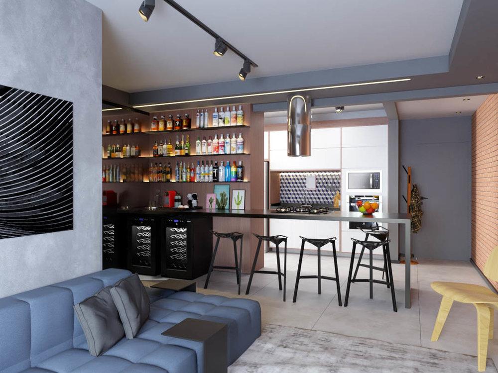 macroarq_arquitetura_interiores_projeto_apartamento_sorocaba_campolim_gourmet_tijolinho_cozinha_integrada_ilha_de_granito_espelho_bar_trilho_iluminacao_sofa_modular