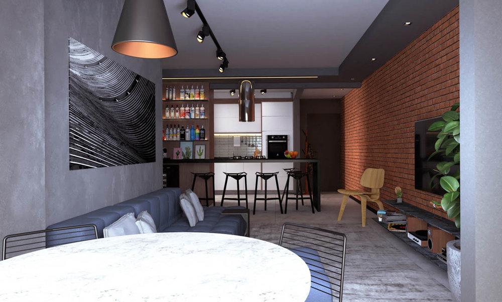 macroarq_arquitetura_interiores_projeto_apartamento_sorocaba_campolim_gourmet_tijolinho_cozinha_integrada_ilha_de_granito_espelho_bar_trilho_iluminacao_sofa_modular_varanda_integrada