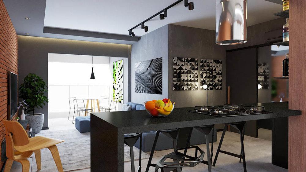 macroarq_arquitetura_interiores_projeto_apartamento_sorocaba_campolim_gourmet_tijolinho_cozinha_integrada_ilha_de_granito_espelho_bar_trilho_iluminacao_sofa_modular_cozinha_integrada