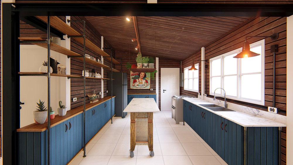 macroarq_arquitetura_projeto_interiores_reforma_obra_chale_de_madeira_lambril_marmore_casa_de_campo_itu_sorocaba_sao_paulo_cozinha_rustica_industrial_azul