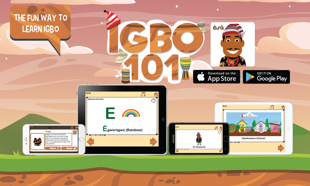 Igbo101 is a language-learning app that offers 16 topics, each with a companion game tied to it. A user learns each lesson to acquire the gift of  Amamiihe , which means Wisdom or Knowledge in Igbo. With new knowledge, a user proceeds to play games to test his/her skills, earn points, stars and unlock special Igbo cultural items.