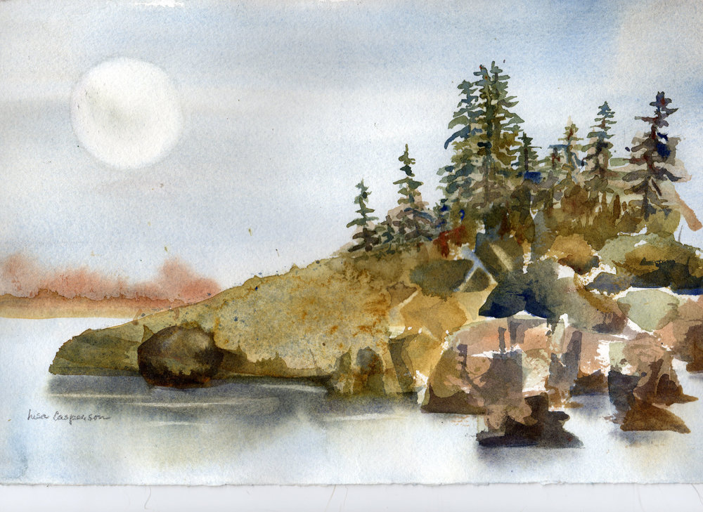 """Island Up North"" A true watercolor, one of my first and quite nice. But I had my mentor at my side."