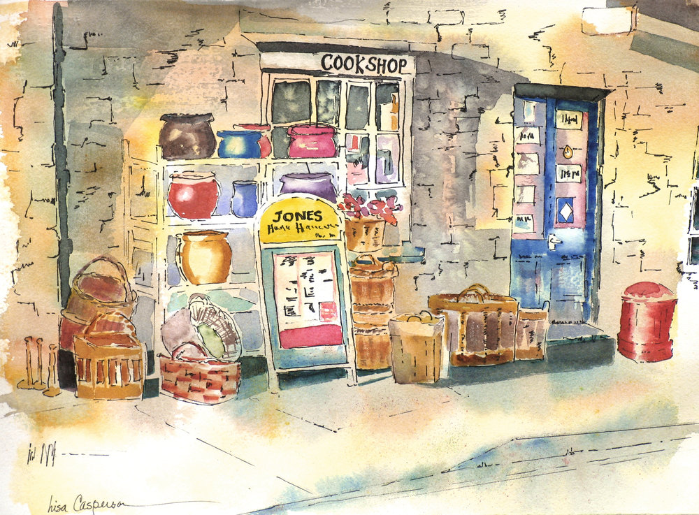 """Cookshop in Wales""                                                                                                    Prints Available  We traveled to Hay-on-Wye, a internationally renowned book town in Wales, for my book-collector husband to shop for rare books. I just shopped. It was a cold, damp November but everything was so quaint. My husband was not sure how he would transport all the books he was going to find and buy. I spent more than he did and came home with more goods. He found only four books that met his expectations!"