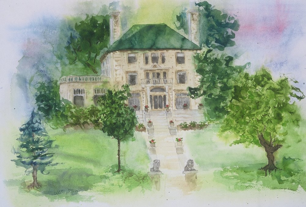 """Cotton Mansion""  My first commission piece was done for a B&B whose exterior was rather unwelcoming. My initial attempts looked like the building but had no appeal. Once familiar with the details of the building, I painted it from memory. This is the softer and more romantic painting they purchased and continue to use 15 years later."