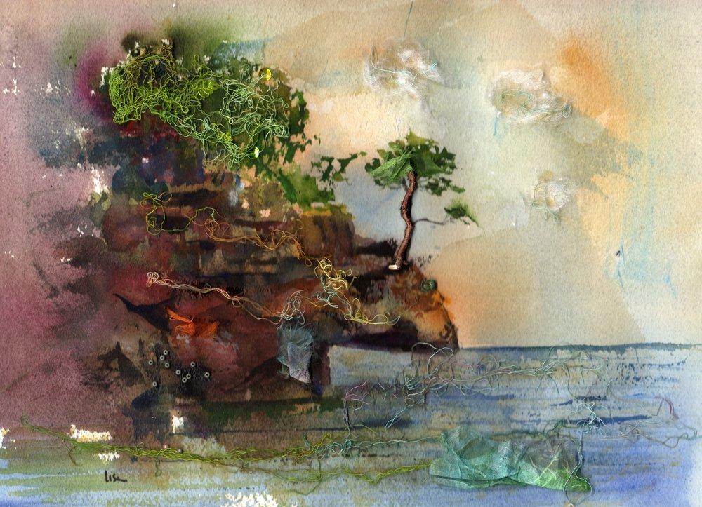 """Witchtree""  I was very untrained and hadn't painted in years but wanted to give a gift to a loved one. I did this collage of the the iconic Witch Tree on the shore of Lake Superior. Silly me, I didn't know how to paint clouds, so I shredded cotton thinly and glued it on. I didn't know how to create movement  on the water, so I glued painted cheesecloth strings onto it, and finally, I attached light colored seed beads to create light on the rocks. I had no idea I was creating my first multi-media painting! Funny, I can barely do a painting without adding something from my collage and junk drawers now."