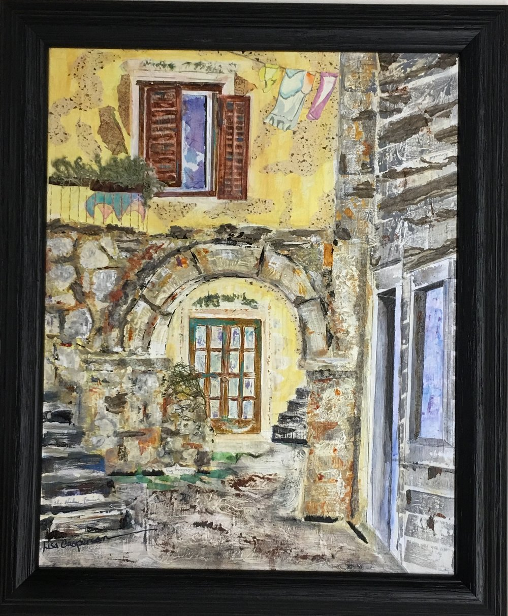 """Croatian Corner""  A traveling friend took a photo of this quaint corner in Croatia. I have painted it three times: twice in multi media beginning with a watercolor foundation, and most recently this version in acrylic. My first acrylic version, was so bright, it was put to rest under this one. 'Almost gave up a few more times, but I am quite fond of it now."