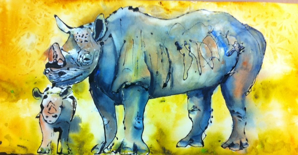 """Mother Love"" I love animals. Not so much that I would would be fool enough to pet a rhino, but I am always amazed by how much we can learn from animals about ourselves.  I sold my zebra to a couple who then commissioned me to do a rhinoceros. This is a large painting and done quite opposite of the controlled painting of a zebra.  The couple did not like it, but one of my best friends and spiritual mentors, bought it.  Made me happy!!!"