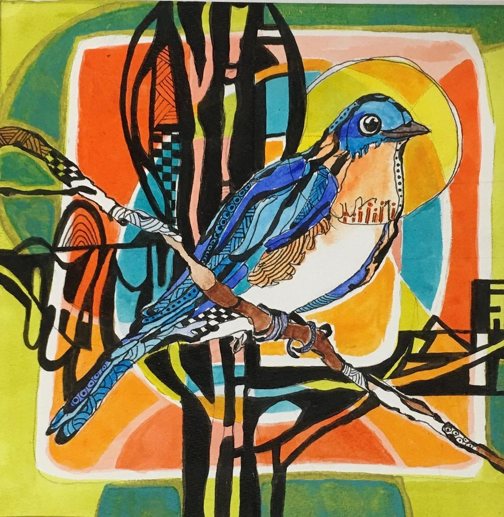 """Bluebird""         13"" X 13""             Prints 8"" up to 16""                 $ 75 & Up  Before moving to North Carolina, I had never seen a bluebird, and even now only two fleeting glances in our back yard. What a thrill! I have put up two houses for them but thesquirrels chewed the hole bigger when I was not looking."